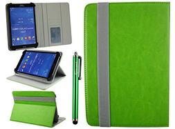 Emartbuy Universal 7-8 Inch Green Multi Angle Folio Wallet C