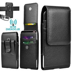 Vertical Cell Phone Pouch Holster Leather Wallet Case With B