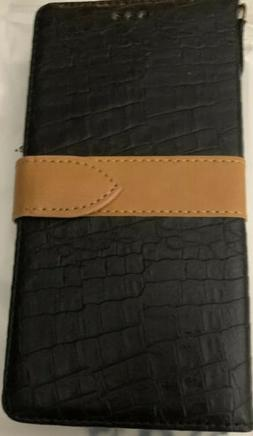 WENBELLE WALLET CASE BLACK CROCODILE PATTERN WITH BROWN STRA