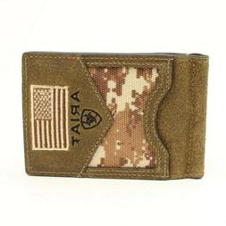 Ariat Western Mens Money Clip Bifold Leather USA Flag Patch