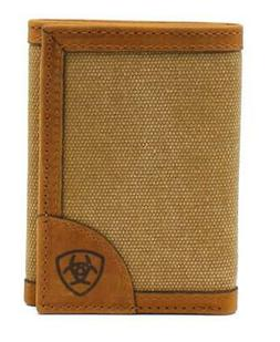 Ariat Western Mens Wallet Trifold Flip Case Canvas Fabric Le