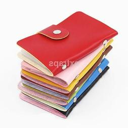 Women 24 Cards PU Leather Credit ID Business Card Holder Poc