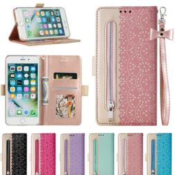 WOMEN Lace Flip Stand Leather Card Slot Wallet Case Cover Fo