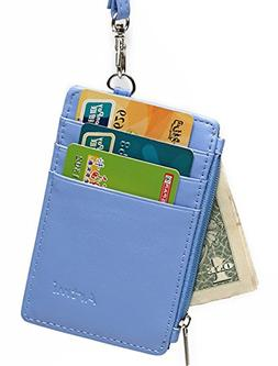 Women RFID Blocking Leather Badge Holders with ID Windows an