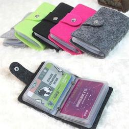 Women's Bank Credit ID Card Holder Soft Case Bag Felt Wallet