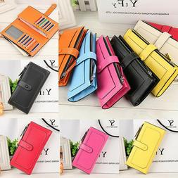 Women's Lady Fashion Leather Clutch Wallet Long Card Holder