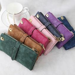 Womens Ladies Suede Leather Clutch Wallet Long Card Holder C