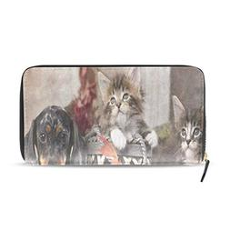 Womens Wallets Autumn Maple Leaves Cat Kitten Dachund Dog Le