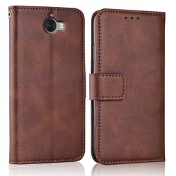 Y6 2017 <font><b>Case</b></font> Slim Leather Flip Cover for