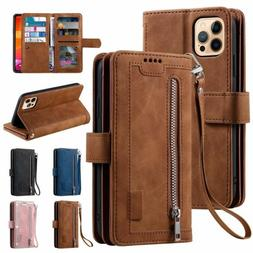 Zipper Leather Wallet Case For iPhone 12 11 Pro Max XS XR 67