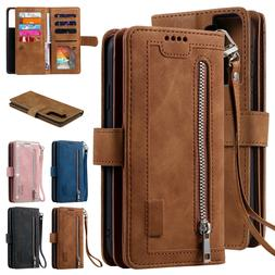 Zipper Leather Wallet Case For Samsung Galaxy S21 Ultra Plus