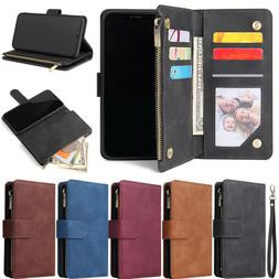 Zipper Wallet Leather Flip Case Cover For iPhone 12 11 Pro X